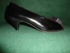 Charles Jourdan Bows Black Leather Woman's Classic Pumps Size 5 M Made in France