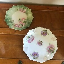 Vintage Lot of Bavaria Purple Pink Thistle & Austria Frilly Flowers Scalloped Ed