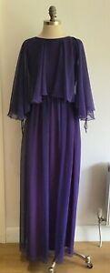 "Vintage 70s Jean Varon Maxi Dress, Purple with Chiffon Over-Cape, 18"" pit to pit"