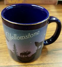 Yellowstone Mug Moose Wolf Bird Trees Wilderness Stars Dark Blue National Park