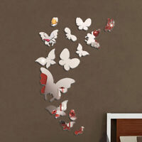 Butterfly Mirror Style Removable Decal Art Mural Wall Sticker Home DIY Decor