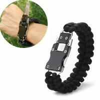 Camping Tactical Paracord Bracelet Knife Survival Cord Multitool Gear Tactical E