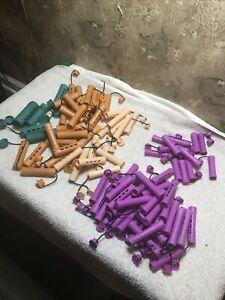 Lot 90 Purple Orange Rollers Perm Rod Curlers Vintage Hair Beauty Salon Rollers