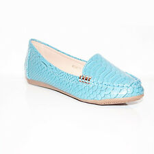 Womens Ladies Casual Comfy Slip on Flat Loafers Moccasins PUMPS Shoes Size 3-8 UK 6 Blue