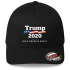 Trump 2020 -Keep America Great Hat Flexfit Black Baseball Cap Printed Emblem S/M
