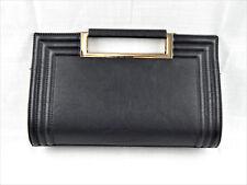 Melie Bianco Sophisticated Modern Black Faux Leather Purse Handbag W/ Gold Trim