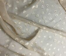 Chiffon Fabric - Beige Embroidered HEARTS 1/3 yard remnant
