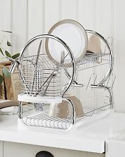 Dish Drainer 2 Tier Plate Cup Bowl Washing Compact Sink Kitchen Cutlery Chrome