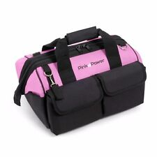 "Pink Power 16"" Tool Bag Women 22 Storage Pockets & Padded Shoulder Strap Canvas"