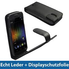 Schwarz Echt Leder Flip Tasche für Samsung Nexus i9250 Schutz Hülle Etui Case