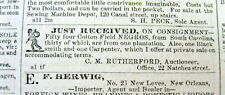 1857 New Orleans Crescent newspaper LOUISIANA w illustr ad NEGRO SLAVES FOR SALE