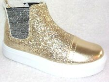 New HOO Little Girls Double Gore Ankle Boot Gold Sparkle Toddler 9