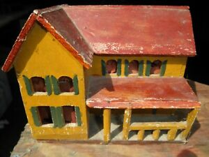 Original - Hand Made - Hand Painted - Miniature - Folkart - Cabin or House