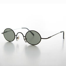 Small Oval Metal Wire Spectacle Vintage Sunglasses Black - JOSEPH