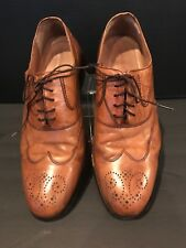 Johnston & Murphy Stration Wingtip Signature Series Tan Italian Calfskin Size 9W