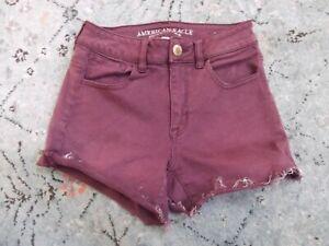 AMERICAN EAGLE hi-rise Shortie burgundy jean SUPER STRETCH shorts Sz. 0