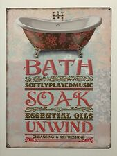 Bath Soak Unwind - Tin Metal Wall Sign