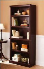 5 Shelf Cherry Bookcase Wooden Book Case Storage Shelves Wood Bookshelf Shelf