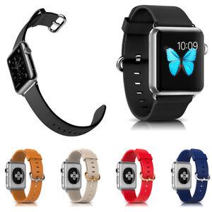 Bracelet en Véritable Cuir Apple Watch 38/40mm - 42/44mm avec Fermoir Métallique