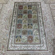 Yilong 3'x5' Four Seasons Hand Knotted Silk Rug Floral Living Room Carpet 245B