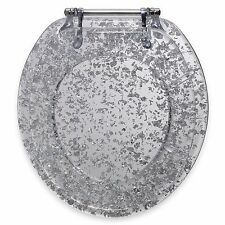 Toilet Seat Ginsey Silver Foil Resin Metal Hinges Bathroom Translucent Standard