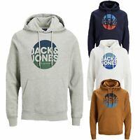 Jack & Jones Men's Hooded Winter Loopback Logo Hoodie Sweatshirt Pullover Jumper