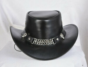 Leather Stylish Cowboy hat Chain Style Black Leather New with Tags
