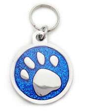 Engraved Pet Tag BLUE PAW LARGE - Free Name & Phone number engraved on tag