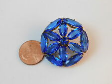 VTG Czech Glass Sapphire Blue Crystal Rhinestone Flower Gold Brooch Pin 12g 44
