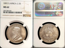 South Africa 1892 2 1/2 Shilling, Superb, NGC 62 PQ +++, Sharp Detail/Luster