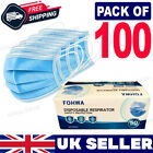 100 Disposable Face Mask Non Surgical 3 Ply Mouth Guard Cover Masks Protection <br/> ✅Sealed Pack ✅Adjustable Nose Strip ✅FAST Delivery ✅UK