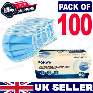 100 Disposable Face Mask Non Surgical 3 Ply Mouth Guard Cover Masks Protection