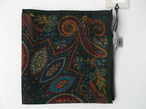 NWT PETER MILLAR POCKET SQUARE MENS EXPLODED PAISLEY OLIVE, MADE IN ITALY