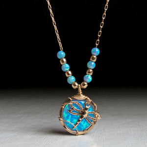 Blue Dragonfly necklace, women's handmade jewelry