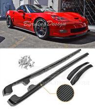 Fits 05-13 Corvette C6 Z06 Carbon Fiber Side Skirts Extension Panels ZR1 Style