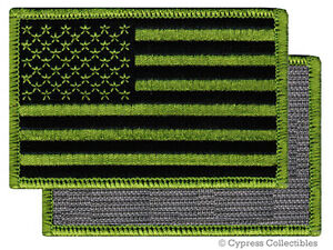 AMERICAN FLAG EMBROIDERED PATCH CAMO GREEN USA US w/ VELCRO® Brand Fastener