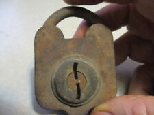 S & Co padlock no key steel with brass face 1800's vintage best I can tell.