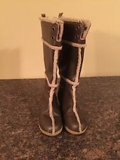 Girl's GAP Brown LEATHER & SHEARLING Tall Riding WEDGE Boots shoes Size 11