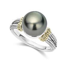 Elegant Women Wedding Rings 925 Silver Jewelry Round Cut Black Pearl Size 8
