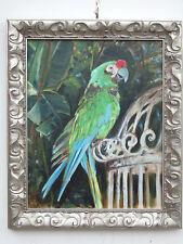 """Green parrot"" oil on canvas, listed artist Irek T. Szelag"