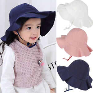 Toddler Baby Girl Summer Wide Brim Sun Protection Beach Cotton Hat Novelty