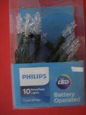 PHILIPS LED CHRISTMAS  STRING LIGHTS SNOWFLAKES BATTERY OPERATED NEW