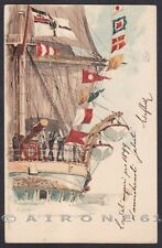 MARINA SEGNALI MARITTIMI BUON ANNO - SIGNAL - NAVE SHIP Cartolina viaggiata 1898