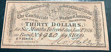 Cofederate Currency Bond Note Thirty Dollars Authentic 1864 Read Description