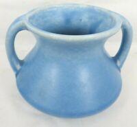 vintage DEVONMOOR ENGLAND art pottery handled vase No 19 Blue glaze