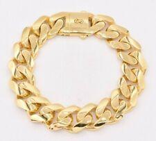 "17mm Miami Cuban Royal Link Plain Box Clasp Bracelet Real 10K Yellow Gold 9"""