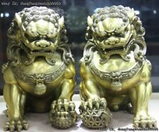 Chinese Palace FengShui Brass Copper Fu Foo Dogs Lion Leo Paly Ball Statue Pair