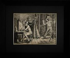 "Original Ink Drawing Reginald Marsh (1898-1954) ""2 Minutes"" Double Sided"