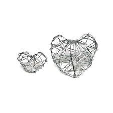 15 x Drahtherzen kompakt, groß 4cm, silber Streuherzen/ TOP PREIS