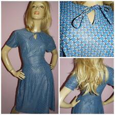 40s 50s BLUE BLACK GEOMETRIC PRINT TEA DRESS 12 M 1940s 1950s SEMI SHEER VINTAGE